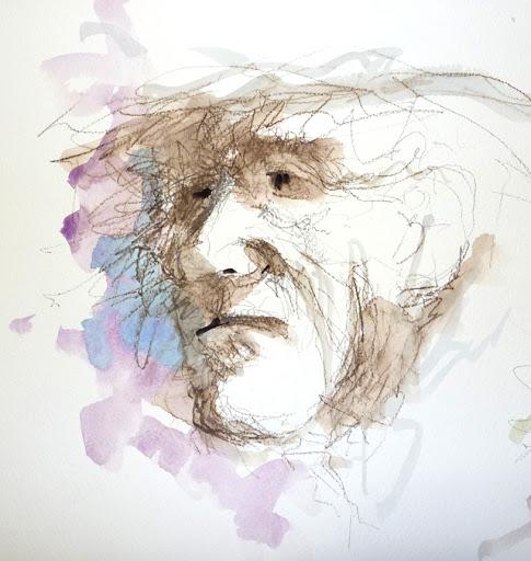 Alter Mann: wasserlöslicher Stift mit Aquarell, richtig schön krakelig gezeichnet