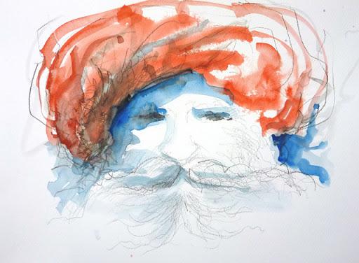 Inder mit rotem Turban: zuerste wurde mit Bleistift vorgezeichnet, dann mit Aquarell die Farbe aufgetragen