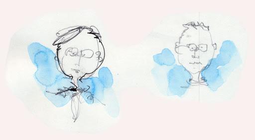 zwei schnell gezeichnete Köpfe mit blauem Hintergrund