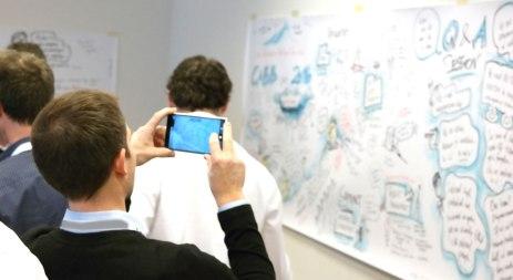 Mitarbeiter fotografieren das fertige Graphic Recording